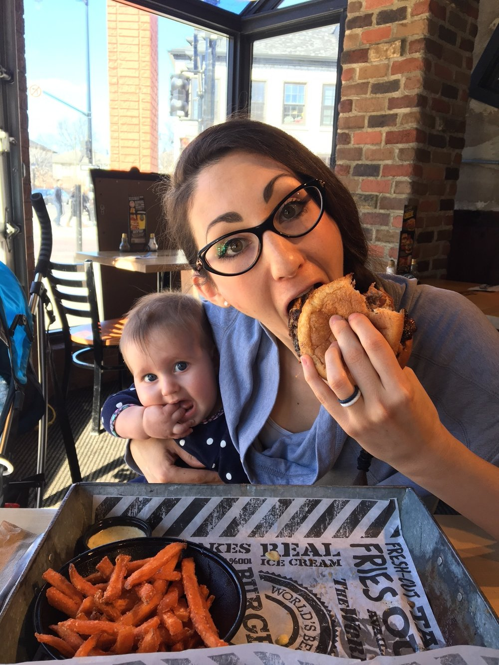 Mama Bird and Baby Bird at my favourite burger joint, The Works Gourmet Burger Bistro