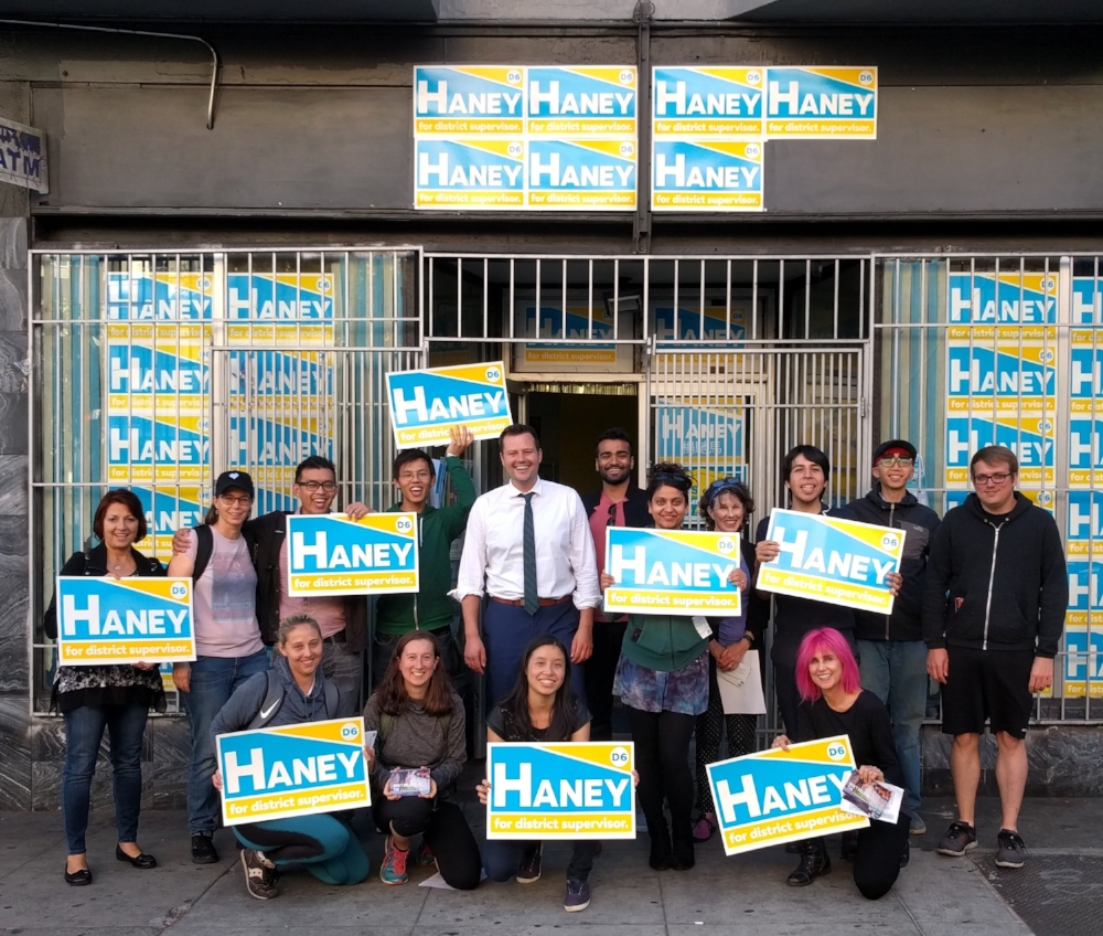 Volunteers from Compassionate Bay canvassed and phone banked for Matt Haney at his campaign headquarters in SOMA, SF.  Sunday, October 14, 2018