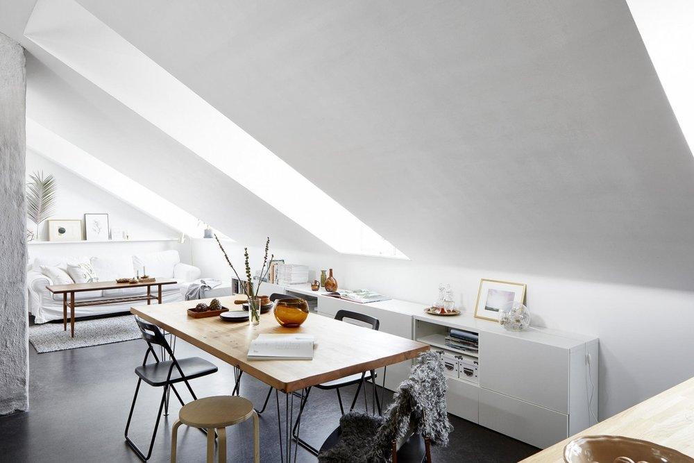Loft apartment with skylight