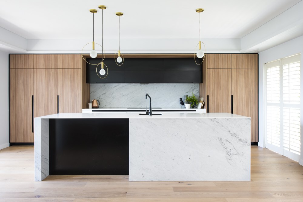 marble island and backsplash kitchen