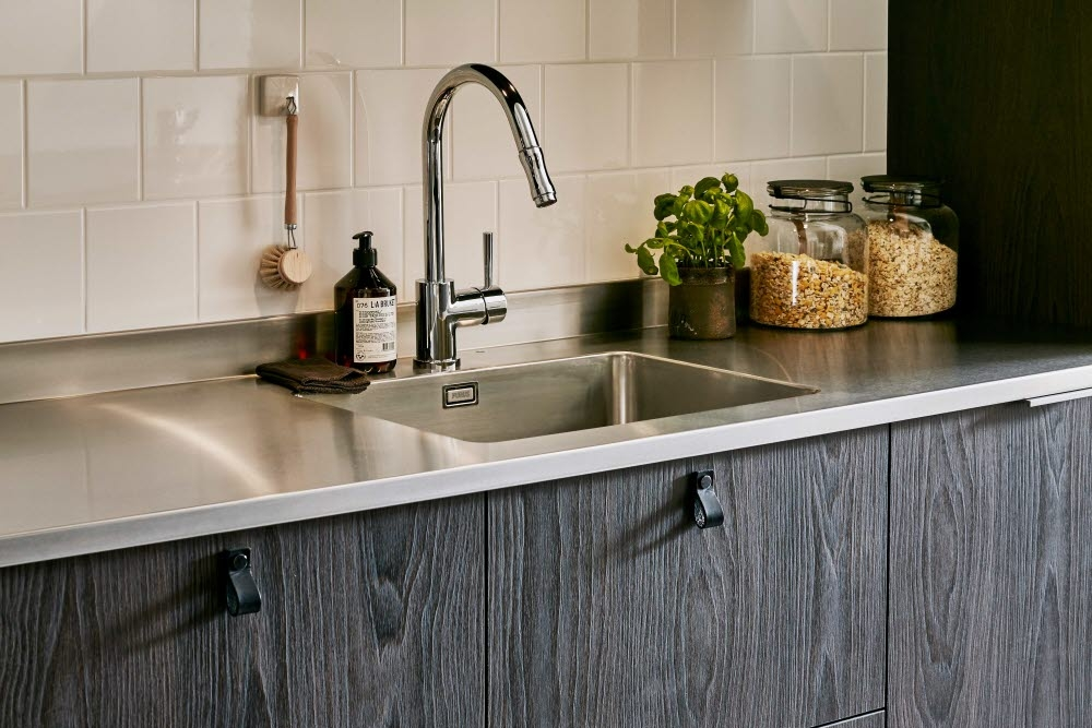 Stainless steel residential kitchen countertop