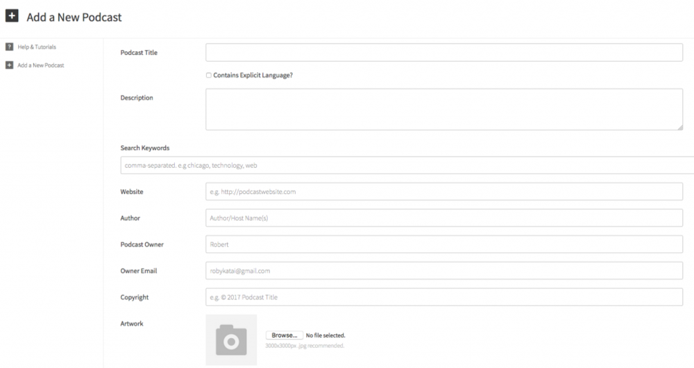 Simplecast's dashboard interface is clean and straightforward.
