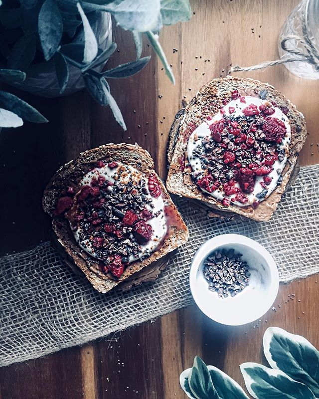 Raspberry Almond Butter Toast
