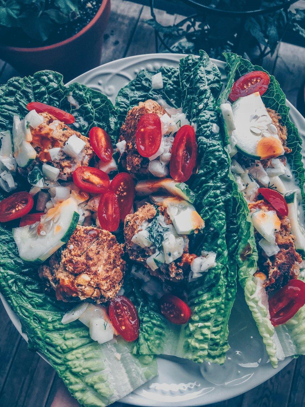 Vegan Baked Falafel Boats + Dairy-Free Tzatziki