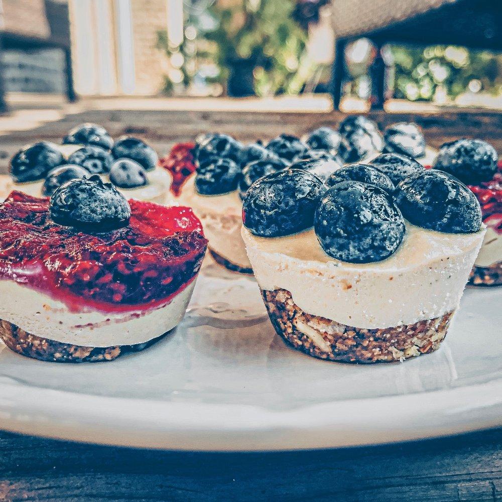 Red, White, and Blue Raw Vegan Cheesecake Bites