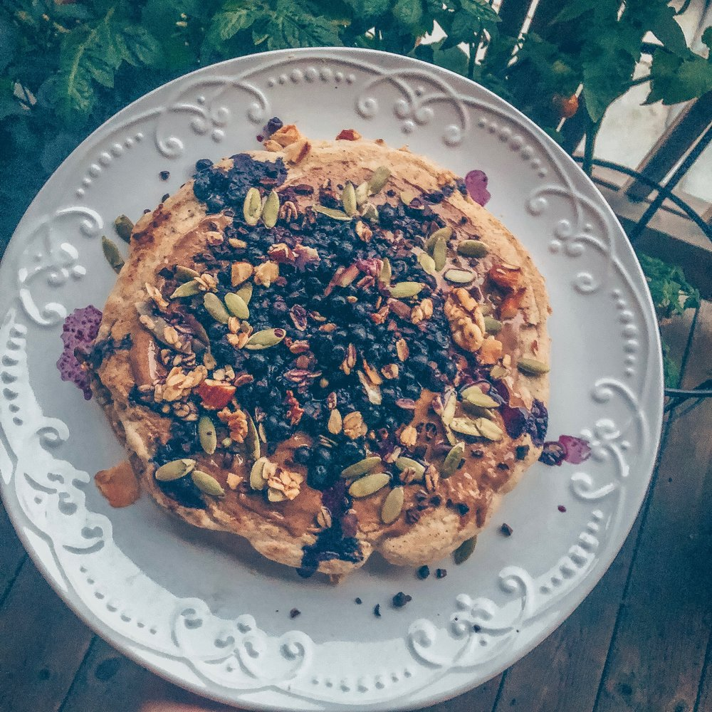 Savory Tahini Pancake w/ Blueberry Sauce