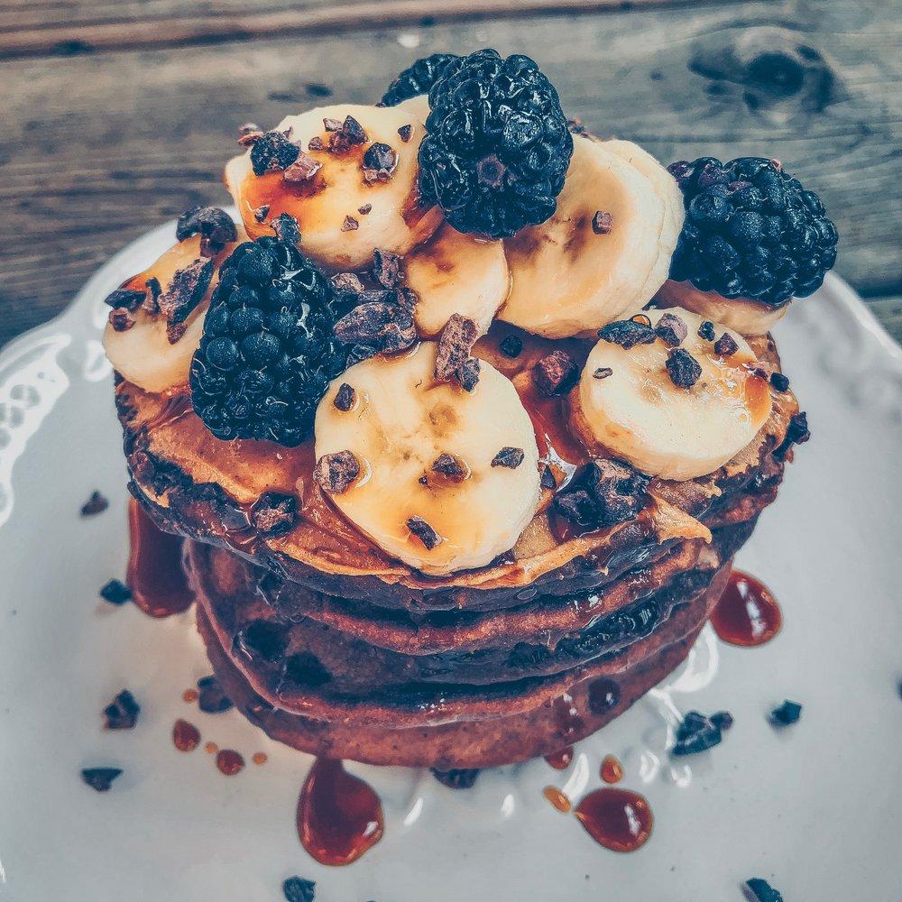 Chocolate Banana Peanut Butter Pancakes