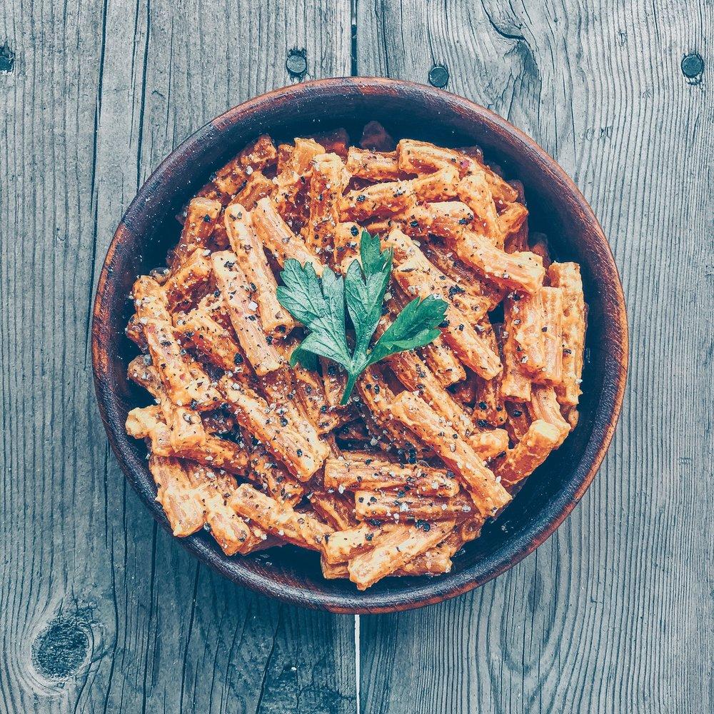 Roasted Red Pepper Red Lentil Pasta