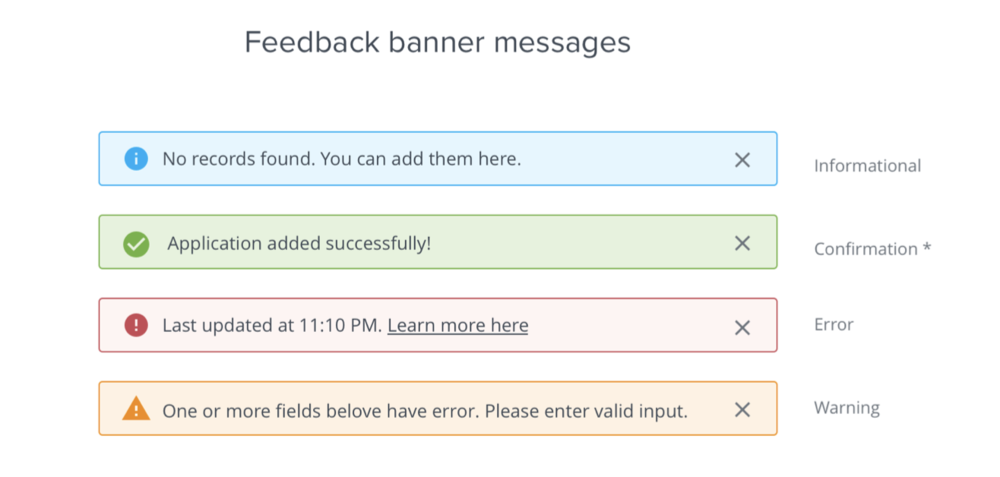 Final design of Feedback Banners