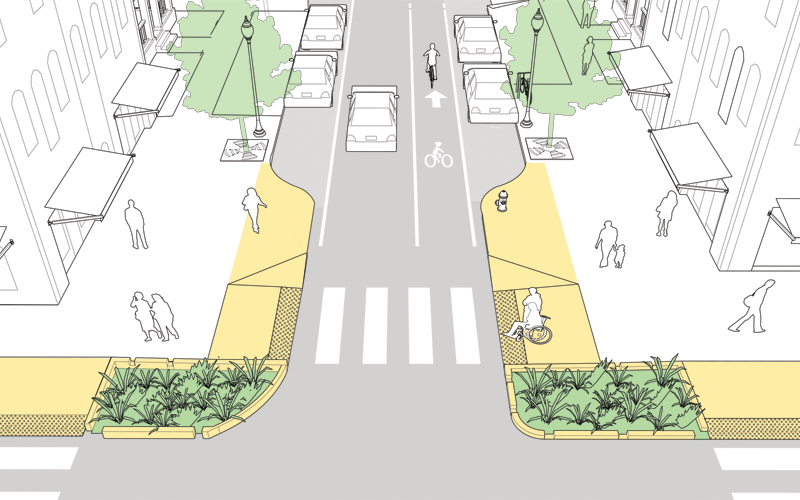 Curb extensions shorten crossing distances ( Photo: NACTO )