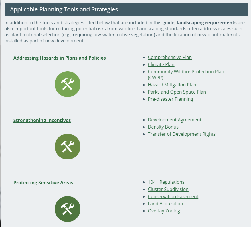 Excerpt from Colorado's Applicable Planning Tools and Strategies for Planning for Wildfire Hazards ( Photo: Planning for Hazards )