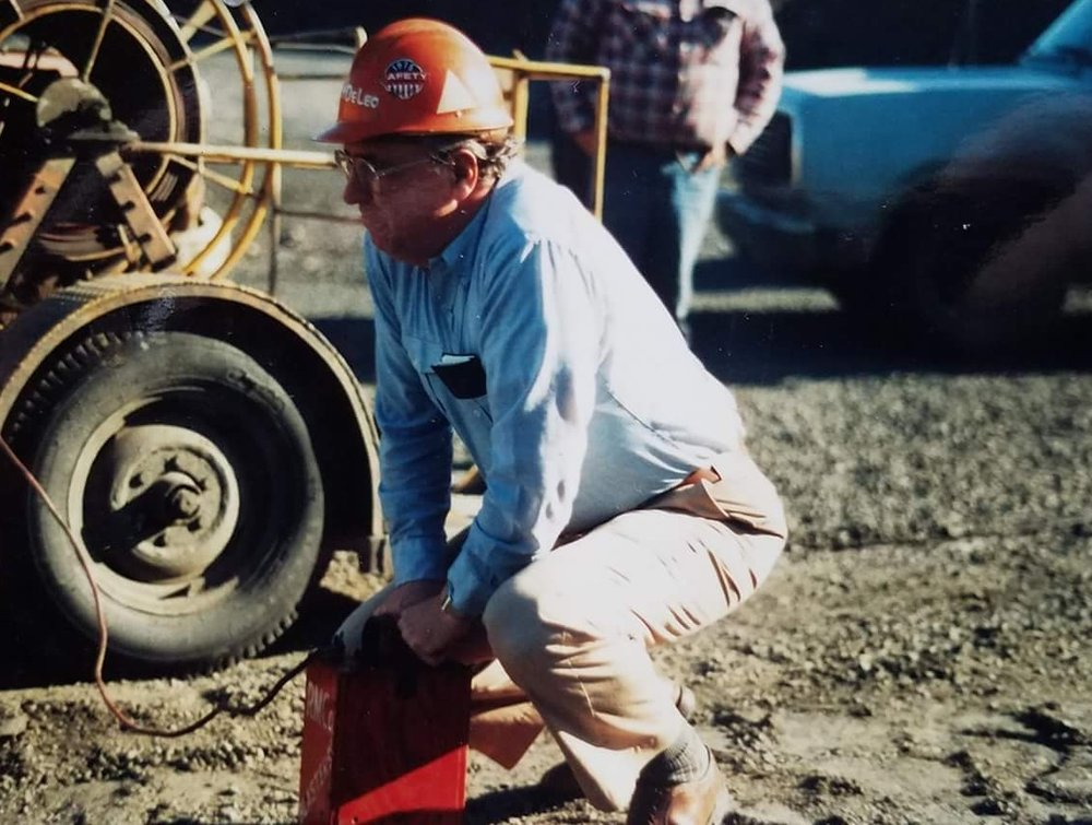 Leah's grandfather David DeLeo on one of his last blasts in Babbit. David retired as president of EVTAC mining in 1999 after 40 years in the industry.
