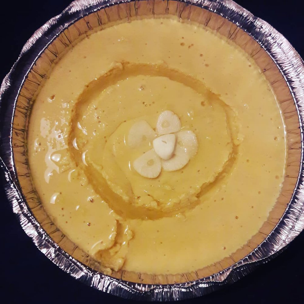 3ADAS LENTIL DIP - Lentil dip with crushed garlic and feta cheese.
