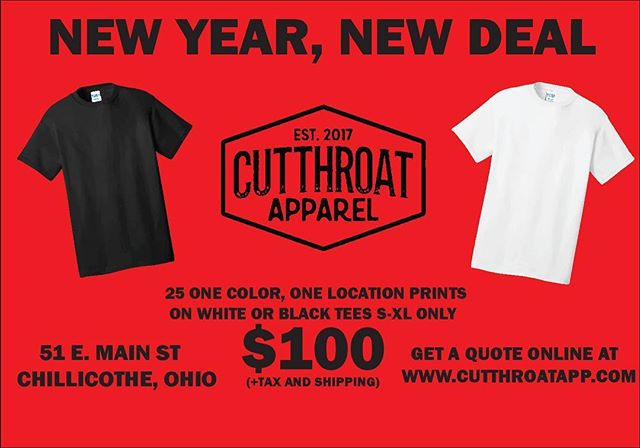 New deal straight for you homies.  We've got 25 basic tees, S-XL, one color, one location print for $100!! Do the math and that's a great deal.  Hit us up today on our social media, or hit link in the bio.  Thanks!! #cutthroatapparel #cutthroat  #apparel #screenprinting #printing #deals #shirts #music #bands #streetwear #design #chillicothe #ohio #downtown #shoplocal #printlocal