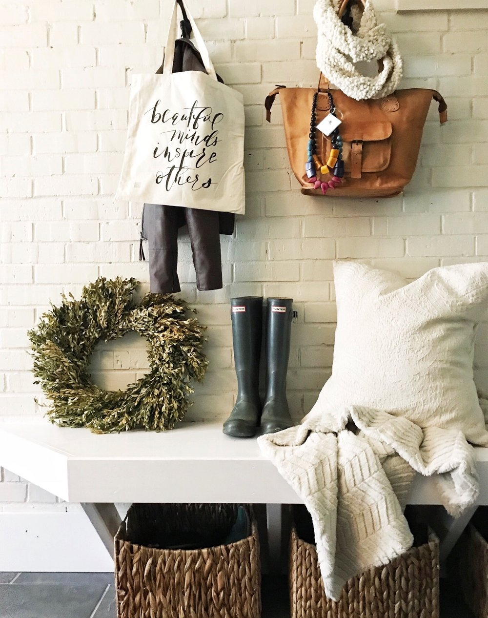 product photography mudroom wreath leather tote