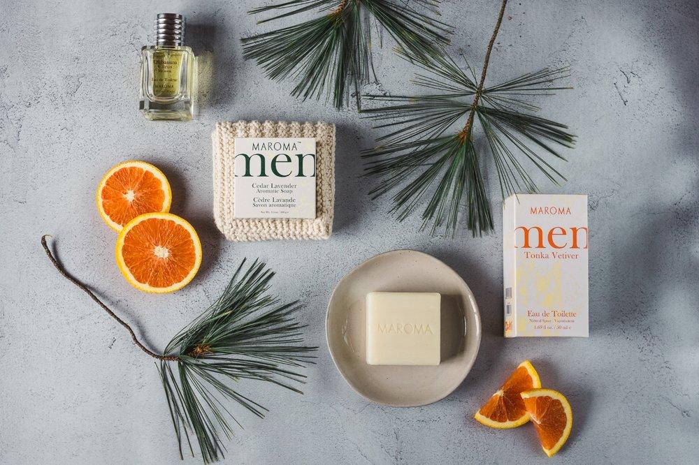 Maroma soap flatlay product photography