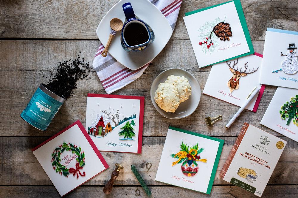 Christmas cards fair trade winds flatlay