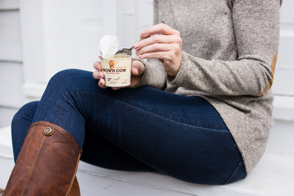 brown cow yogurt product photography