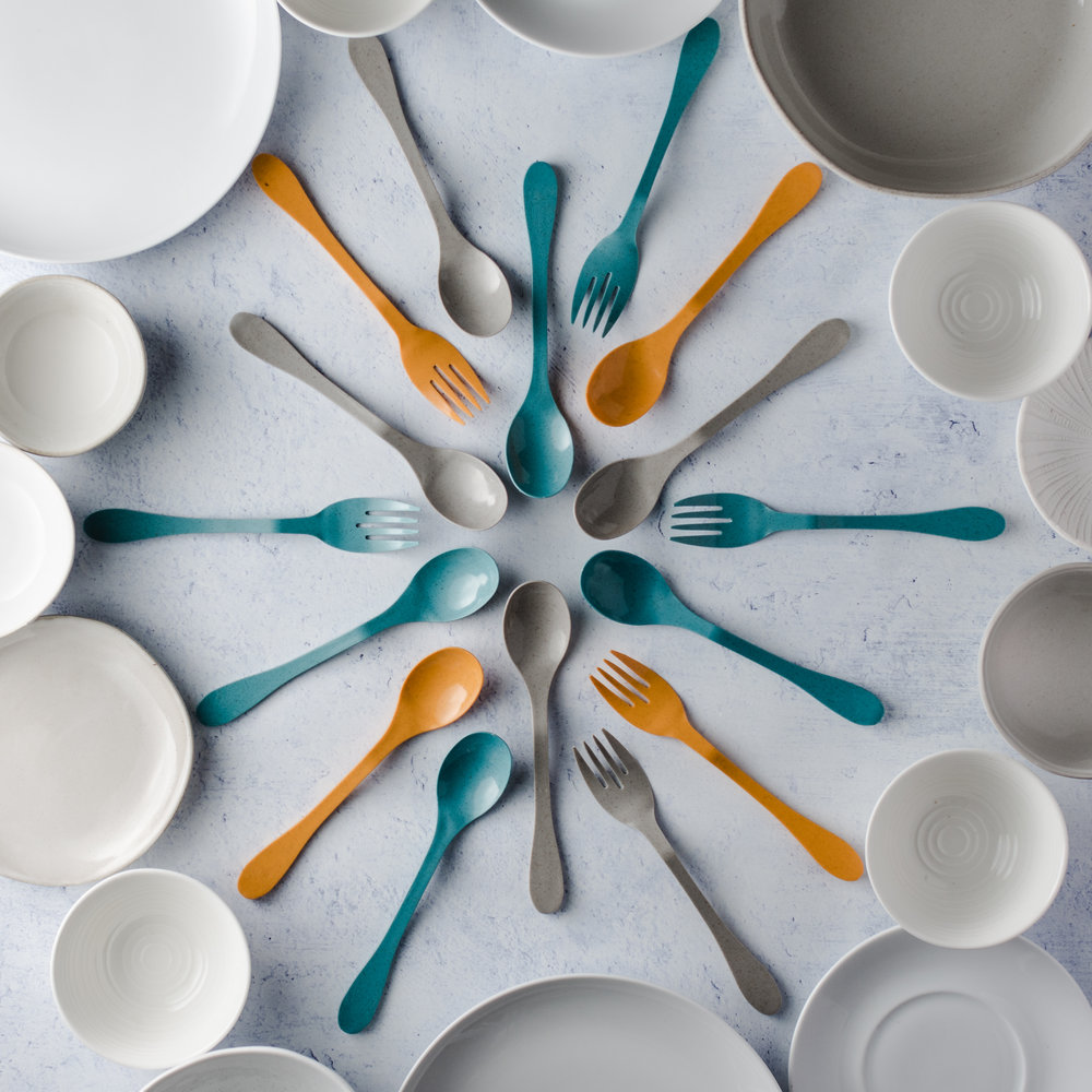 geometric flatware flatlay Knork