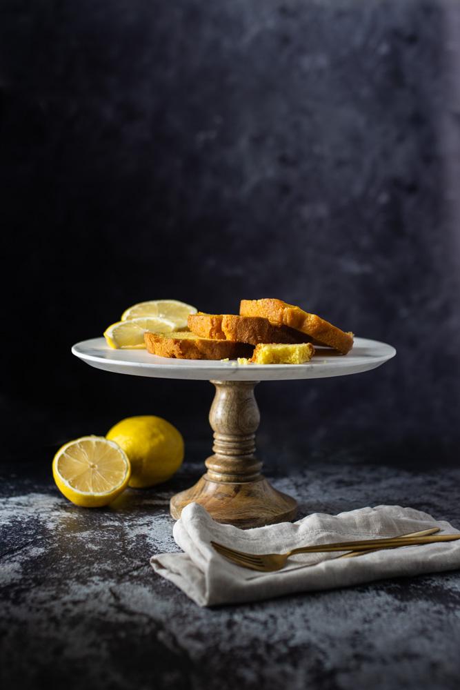 lemon cake dark and moody food photography