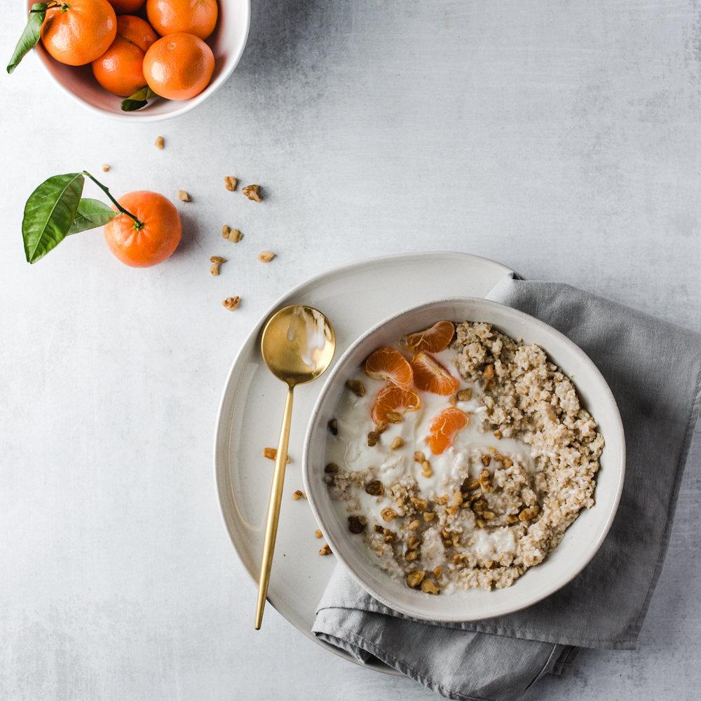 oatmeal oranges food styling