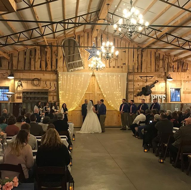 "The rain didn't hinder this sweet couples wedding!! Our first wedding ""inside"" the Barn and it was beautiful💍"
