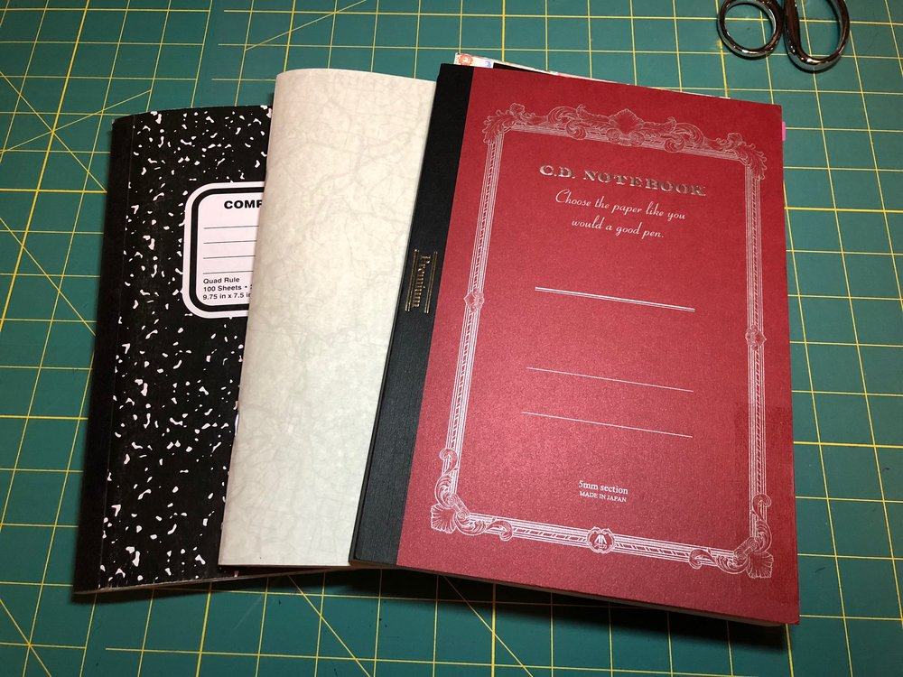 Composition book (note/sketchbook), work calendar, Apica planner. They're all the same size and they are beautiful together!