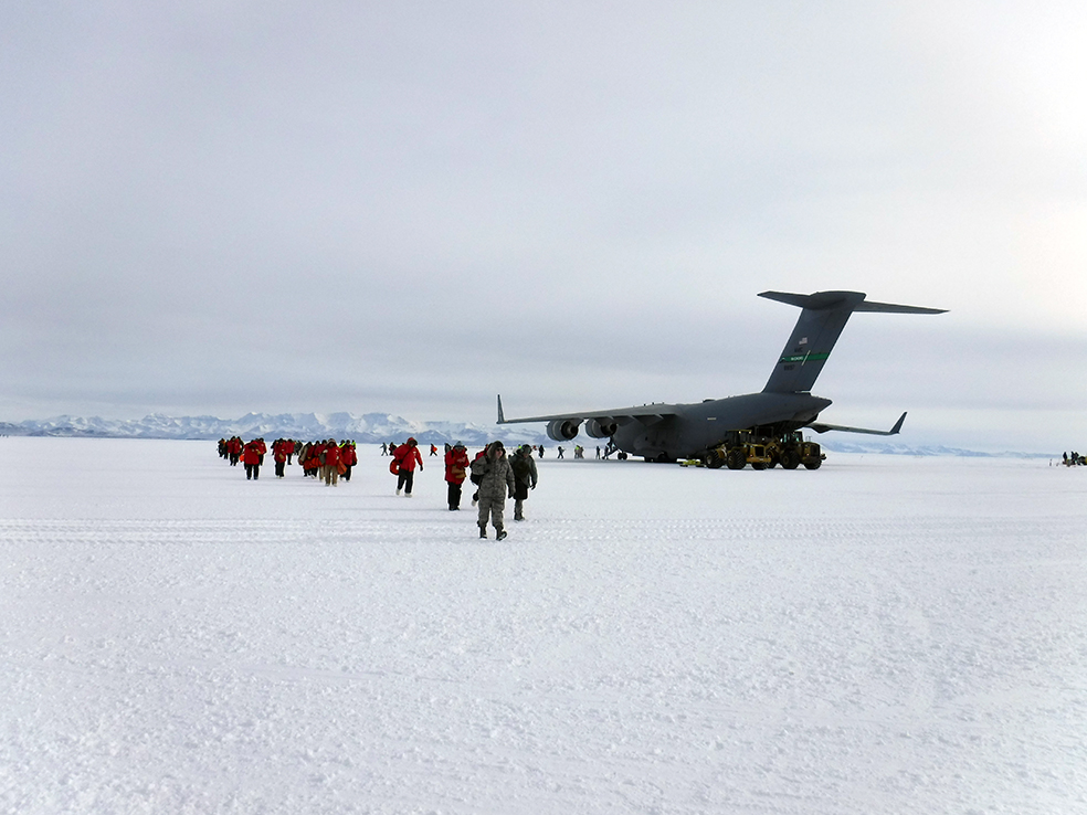 Photo of the C-17 I flew in on. Credit: Caitlin Scarano.