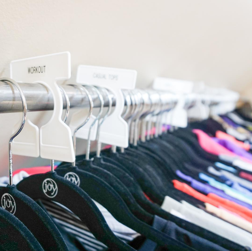 "Implement  Streamline and implement any organizing products to help in your organization. Streamline means get rid of anything ""random"". I recommend to all of my clients to use  all matching huggable felt hangers , and matching bins and products wherever needed. This will create that closet look you've always dreamed of."