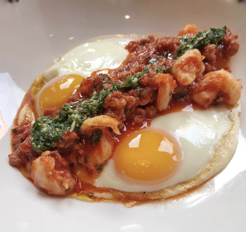 Scampi and Grits: Organic Polenta, Tomato, Sausage, Sunny Side Up Eggs