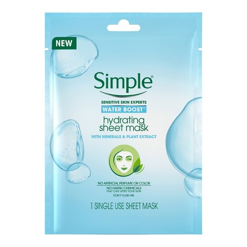 3.  Simple Hydrating Sheet Mask: Our Simple Water Boost Sheet Face :  Between the hours spent under the sun's hot heat and our late-night cocktails, our skin goes through some major rough times during the summer. This Hydrating Sheet Mask is the perfect antidote to fight the 5 early signs of dehydrated skin: dryness, dullness, dry dehydration lines, tightness, and roughness.
