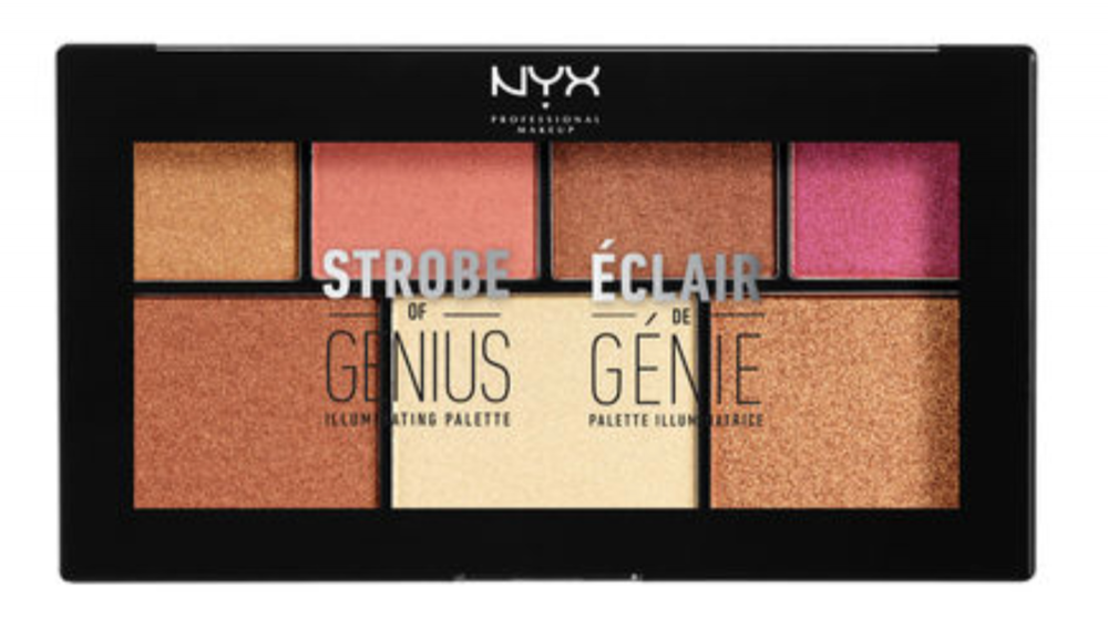 6.  NYX Cosmetics Strobe of Genius Illuminating Palette  in Warm: It's no secret that as our skin tone darkens in the summer, we should switch up our makeup shades. Many of us already have a darker foundation and bronzer ready, but we tend to skip eyeshadow. This palette has a golden finish that perfectly compliments the glow that summer's sun gives us.