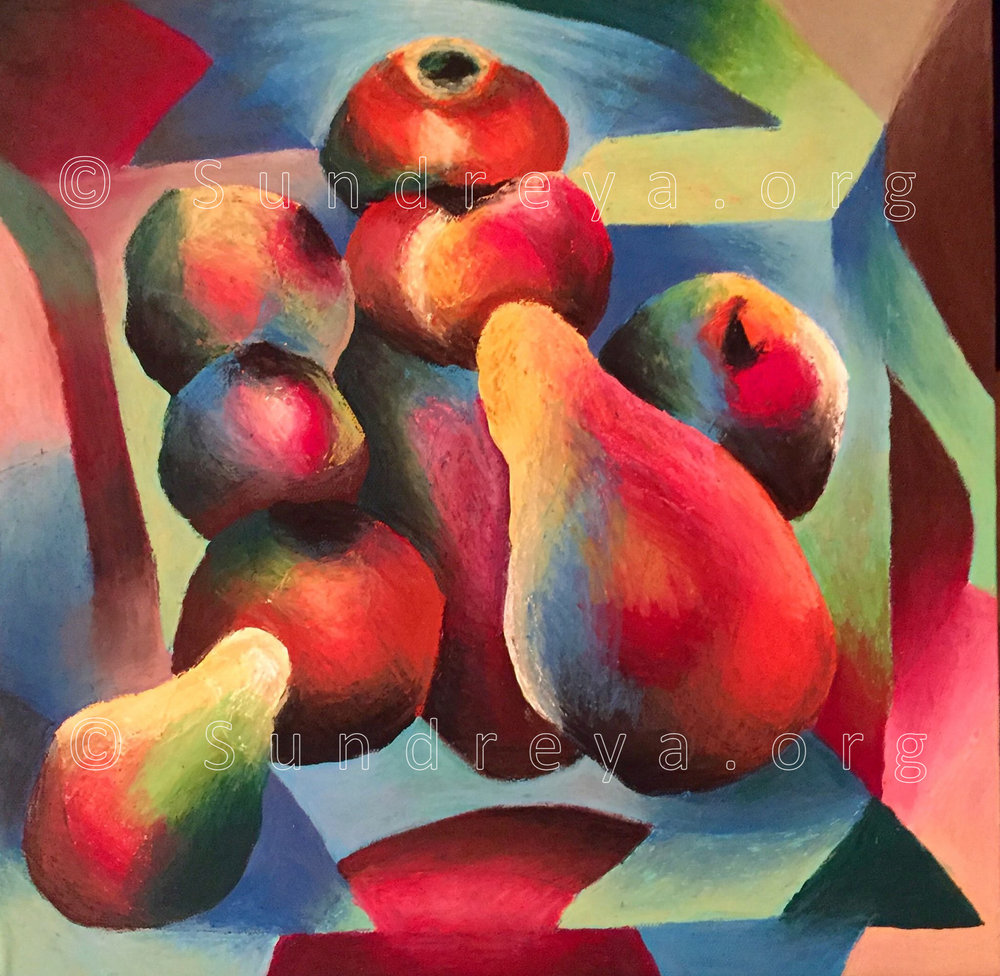 "Commissioned: Fruity, 12 x 12"", pastels"
