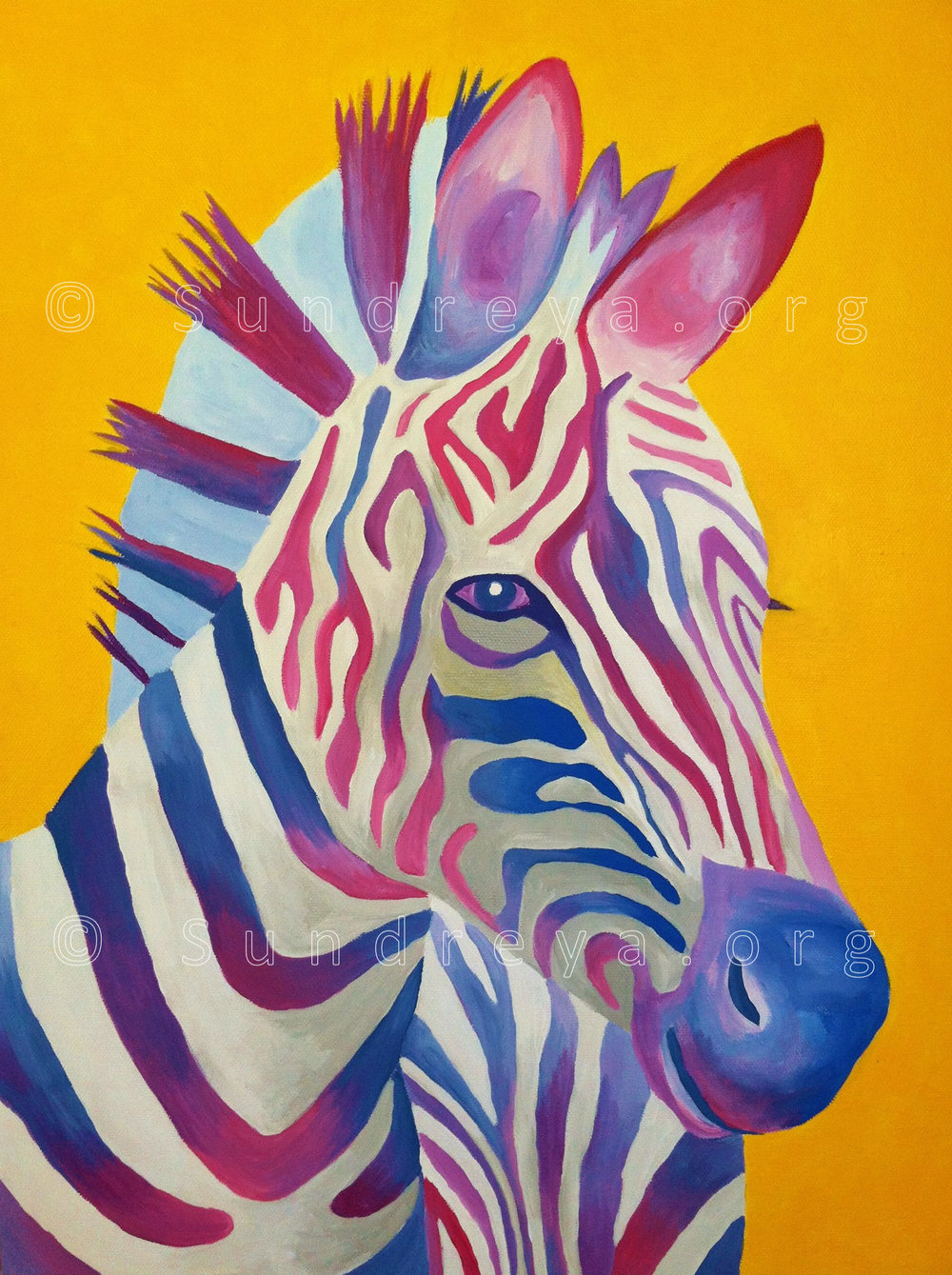 "Commissioned: Zelectric Zebra, 16 x 20"", acrylic"