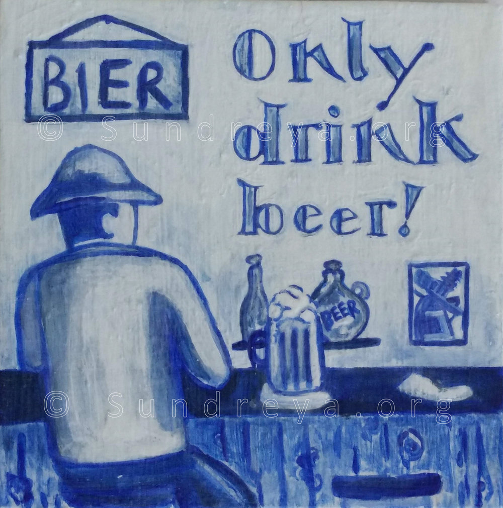 "Commissioned: Bier, 6 x 6"" tile, acrylic with gloss finish"