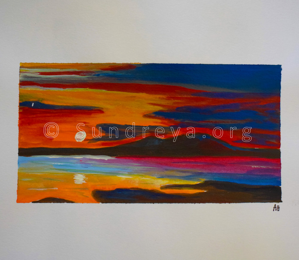 "Landscape, acrylic on 9 x 12"" paper"