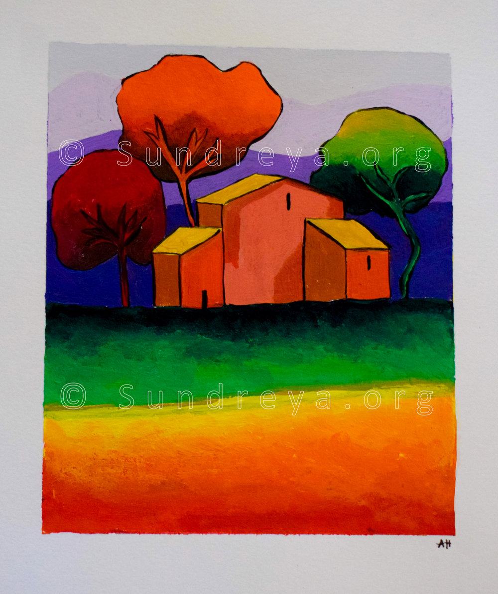 "Colorful House, acrylic on 9 x 12"" paper"