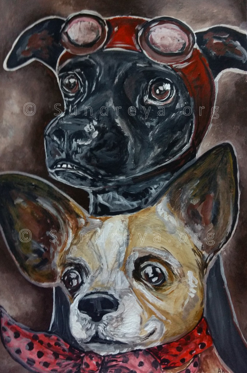"Commissioned: Juanita and Lola, acrylic on 7 x 10"" paper"