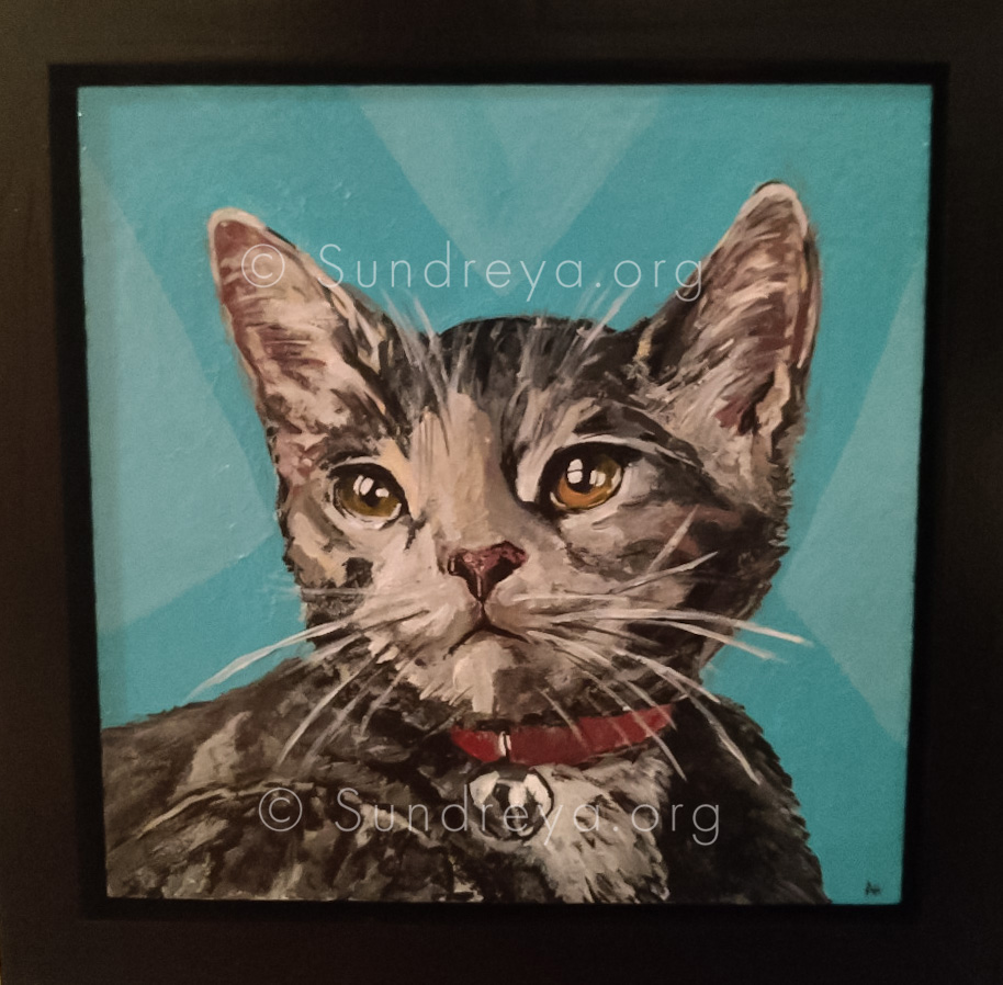 "Commissioned: Kira, acrylic on 6 x 6"" tile with gloss finish"