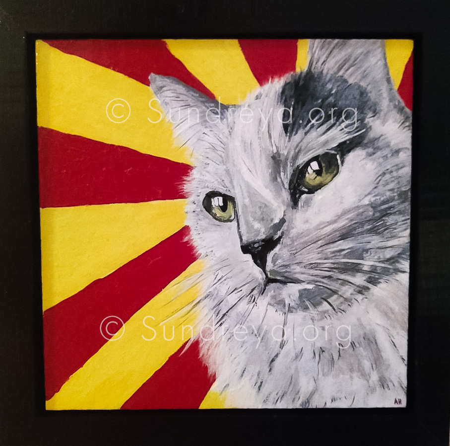 "Commissioned: Binx, acrylic on 6 x 6"" tile with gloss finish"