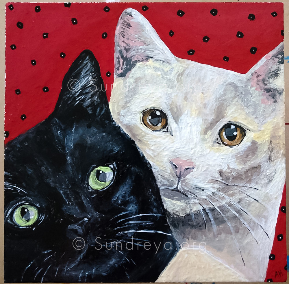 "Commissioned: Lucy and Vivian, acrylic on 6 x 6"" tile with gloss finish"