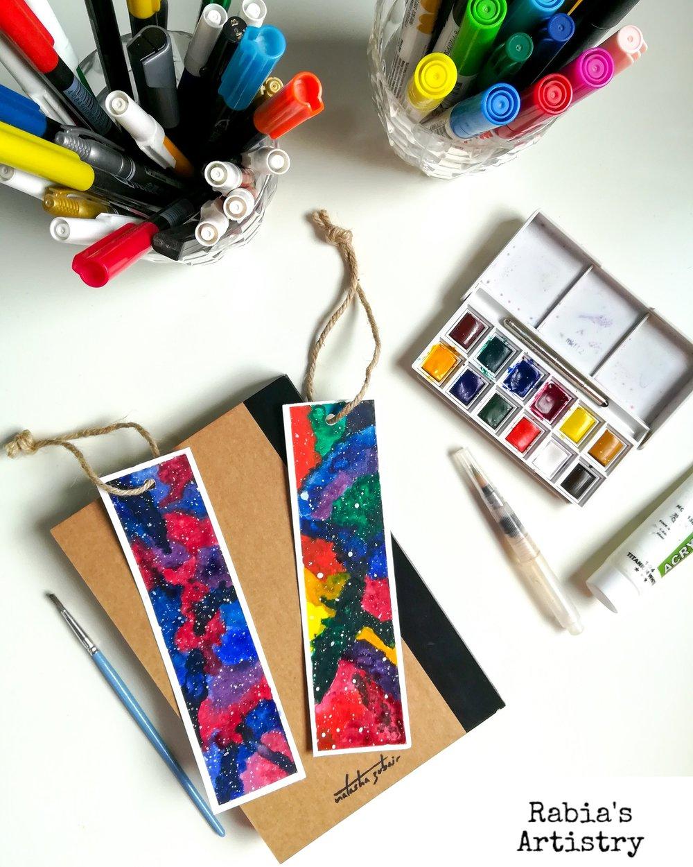 Watercolor Galaxy Bookmarks