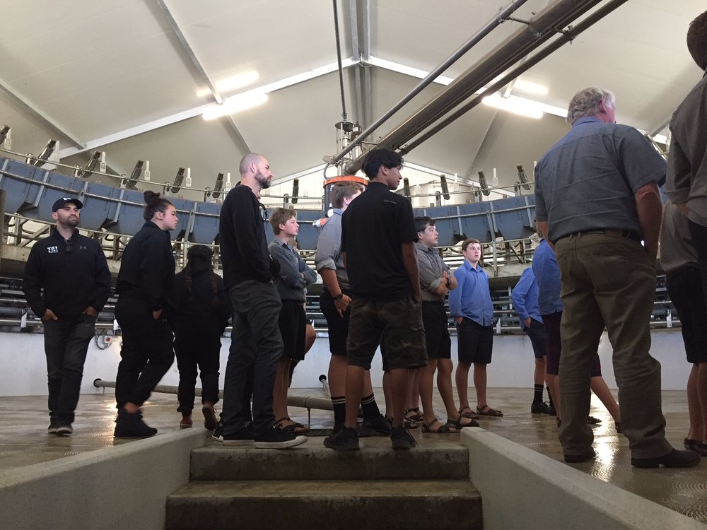 Stewart's Stateof the Art Rotary Milking shed TC Agrifood Pathways Scholars.JPG