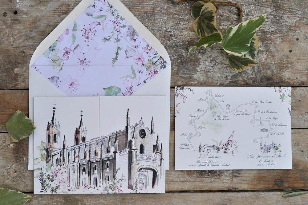 Invitación para boda con ilustración y mapa