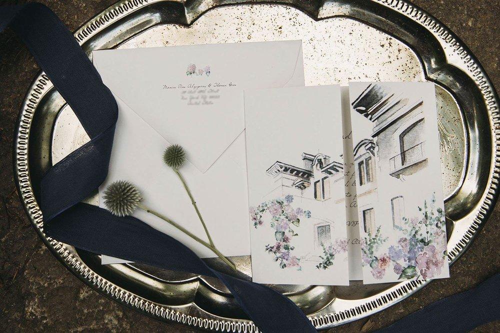Invitación para boda con ilustración a lápiz