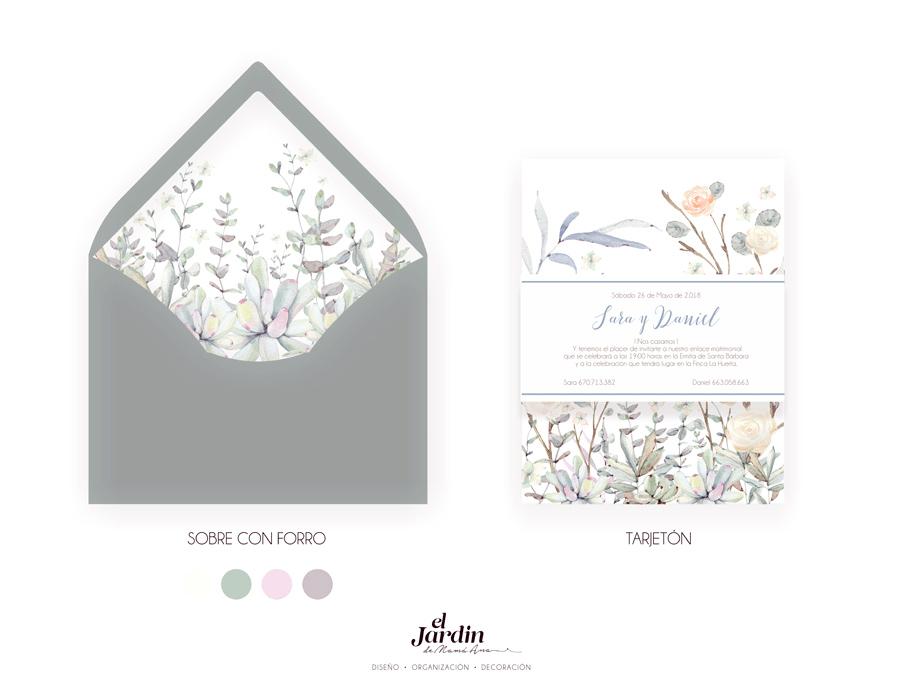Invitación con suculentas y flores