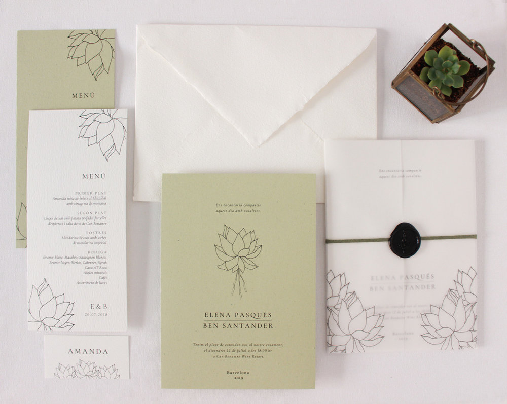 Ilustración de boda con ilustración de suculenta