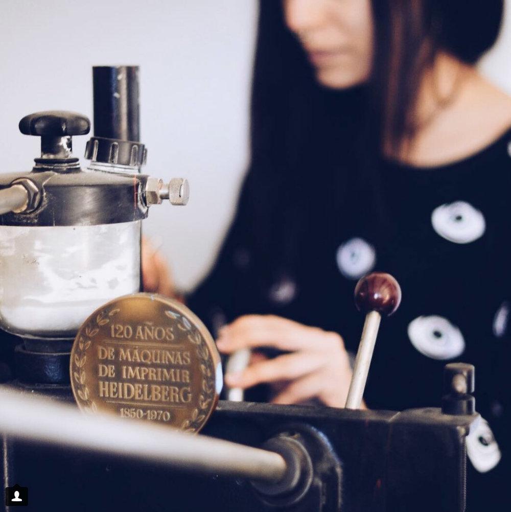 La máquina de letterpress de Erika