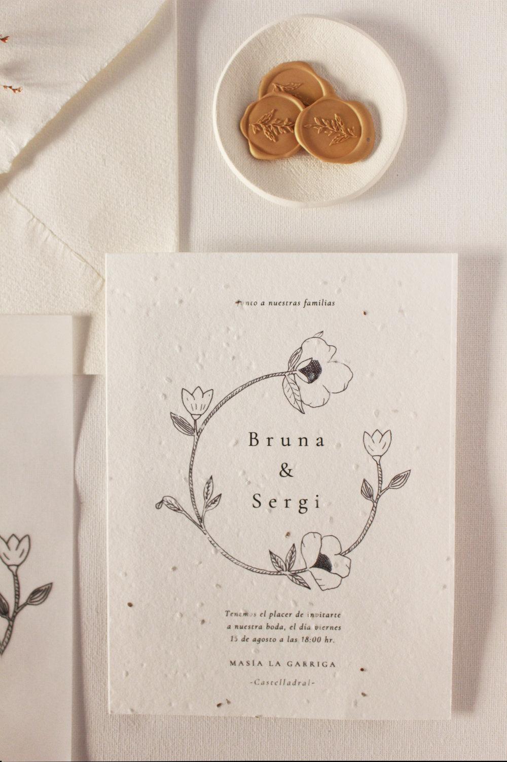 Invitación en papel plantable de semillas de zinnia