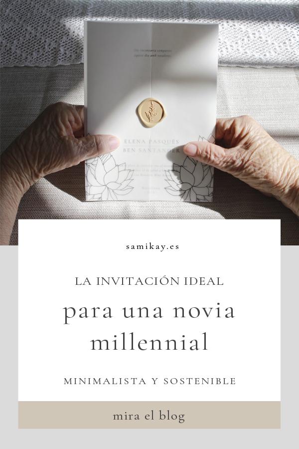 Invitaciones sostenibles y minimalistas para novias millennials y slow
